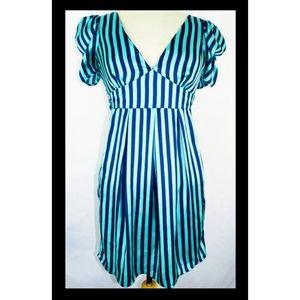 NWOT gorgeous blue striped cocktail dress